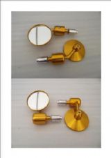 Bar end mirrors gold cnc alloy fits 99% of bikes x2